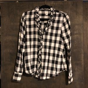 Plaid black and white cotton button down